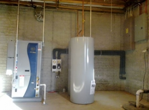 A water-softener is shown near a generator and large electrical panel.